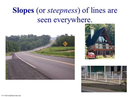 Www.thevisualclassroom.com Slopes (or steepness) of lines are seen everywhere.
