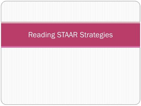 Reading STAAR Strategies