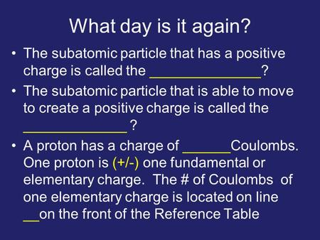 What day is it again? The subatomic particle that has a positive charge is called the ______________? The subatomic particle that is able to move to create.