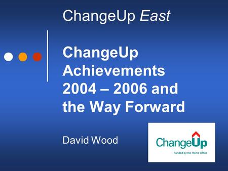 ChangeUp East ChangeUp Achievements 2004 – 2006 and the Way Forward David Wood.