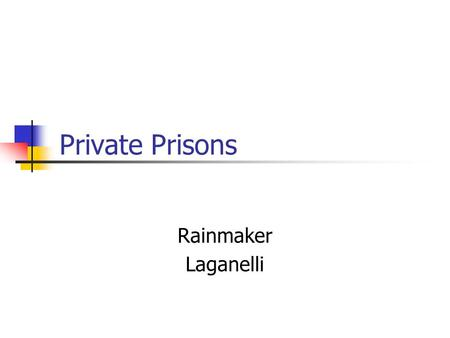 Private Prisons Rainmaker Laganelli. Issues Cost benefits Human rights Transparency effect.