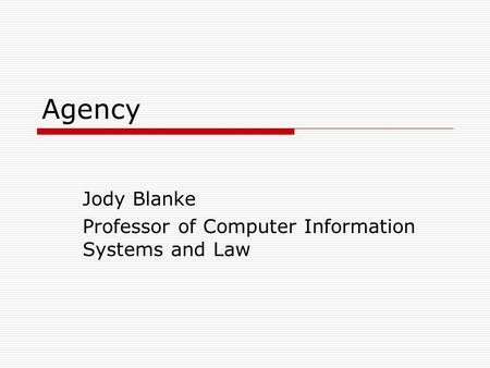 Agency Jody Blanke Professor of Computer Information Systems and Law.