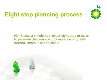 Planit uses a simple but robust eight step process to promote the consistent formulation of quality internal communication plans. Eight step planning process.