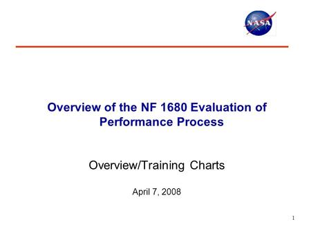 1 Overview of the NF 1680 Evaluation of Performance Process Overview/Training Charts April 7, 2008.