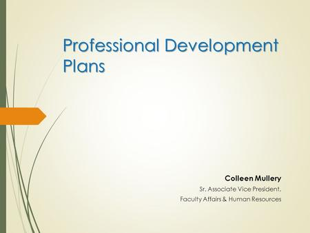 Professional Development Plans Colleen Mullery Sr. Associate Vice President, Faculty Affairs & Human Resources.