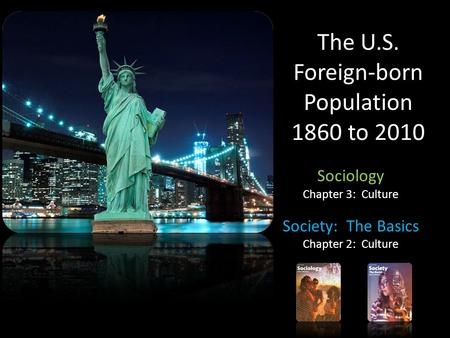 The U.S. Foreign-born Population 1860 to 2010 Sociology Chapter 3: Culture Society: The Basics Chapter 2: Culture.