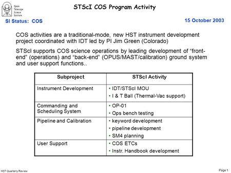 HST Quarterly Review Page 1 Space Telescope Science Institute 15 October 2003 SI Status: COS STScI COS Program Activity SubprojectSTScI Activity Instrument.