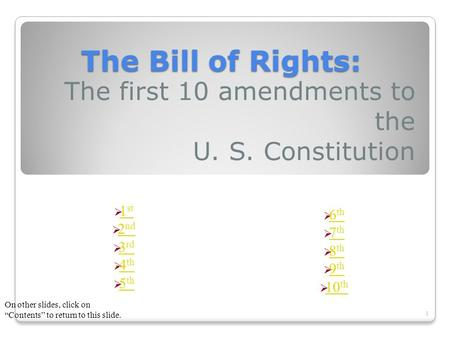The Bill of Rights: The first 10 amendments to the U. S. Constitution 1  1 st 1 st  2 nd 2 nd  3 rd 3 rd  4 th 4 th  5 th 5 th  6 th 6 th  7 th.