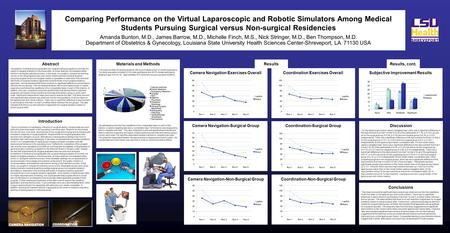 Comparing Performance on the Virtual Laparoscopic and Robotic Simulators Among Medical Students Pursuing Surgical versus Non-surgical Residencies Amanda.