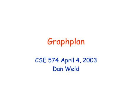 Graphplan CSE 574 April 4, 2003 Dan Weld. Schedule BASICS Intro Graphplan SATplan State-space Refinement SPEEDUP EBL & DDB Heuristic Gen TEMPORAL Partial-O.