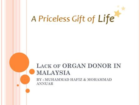 L ACK OF ORGAN DONOR IN MALAYSIA BY : MUHAMMAD HAFIZ & MOHAMMAD ANNUAR.