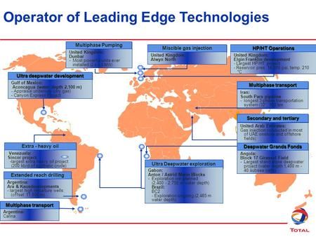 Operator of Leading Edge Technologies Multiphase Pumping United Kingdom: Dunbar -Most powerful units ever installed (2 x 4.5 MW) Extra - heavy oil Venezuela: