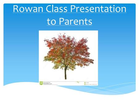 Rowan Class Presentation to Parents.  Mrs Philippa Carter– Class Teacher, Deputy Head and Maths Subject Leader  Mrs Linda May – Teaching Assistant 