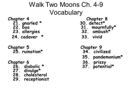 Walk Two Moons Ch. 4-9 Vocabulary Chapter 4 Chapter 8 21. gnarled * 30. detect* 22. boa 31. mournfully* 23. allergies 32. ambush* 24. cadaver * 33. vivid.