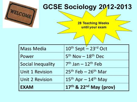 GCSE Sociology 2012-2013 28 Teaching Weeks until your exam Mass Media10 th Sept – 23 rd Oct Power5 th Nov – 18 th Dec Social Inequality7 th Jan – 12 th.