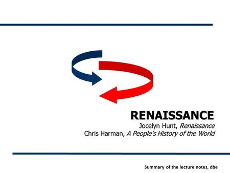 RENAISSANCE Jocelyn Hunt, Renaissance Chris Harman, A People's History of the World Summary of the lecture notes, dbe.