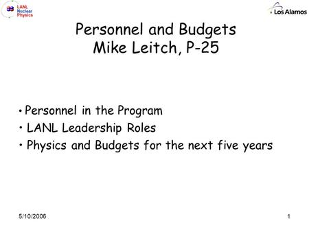 LANL Nuclear Physics 15/10/2006 Personnel and Budgets Mike Leitch, P-25 Personnel in the Program LANL Leadership Roles Physics and Budgets for the next.