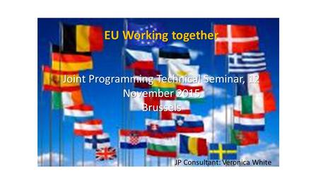 EU Working together Joint Programming Technical Seminar, 12 November 2015 Brussels JP Consultant: Veronica White.