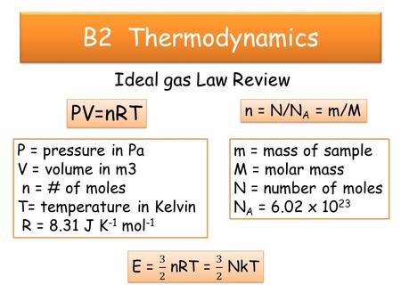 B2 Thermodynamics Ideal gas Law Review PV=nRT P = pressure in Pa V = volume in m3 n = # of moles T= temperature in Kelvin R = 8.31 J K -1 mol -1 m = mass.