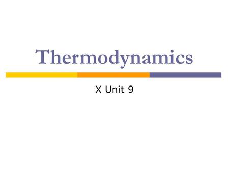 Thermodynamics X Unit 9. Energy: Basic Principles  Thermodynamics – the study of energy changes  Energy – the ability to do work or produce heat Note:
