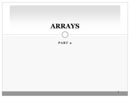 11 PART 2 ARRAYS. 22 PROCESSING ARRAY ELEMENTS Reassigning Array Reference Variables The third statement in the segment below copies the address stored.