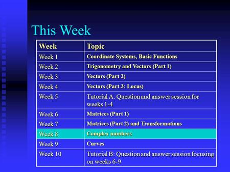 This Week WeekTopic Week 1 Coordinate Systems, Basic Functions Week 2 Trigonometry and Vectors (Part 1) Week 3 Vectors (Part 2) Week 4 Vectors (Part 3: