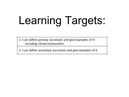 Learning Targets:. Succession Succession - the changes that take place in a community as it gets older Primary and Secondary Pioneer Community - the.
