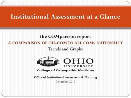 The COMparison report A COMPARISON OF OU - COM TO ALL COM s NATIONALLY Trends and Graphs Office of Institutional Assessment & Planning November 2010 Institutional.