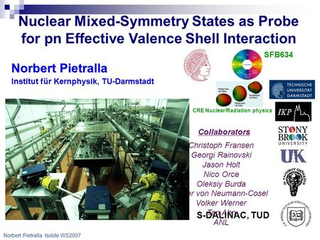 Norbert Pietralla Isolde WS2007 Nuclear Mixed-Symmetry States as Probe for pn Effective Valence Shell Interaction Institut für Kernphysik, TU-Darmstadt.