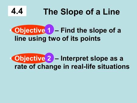 The Slope of a Line 4.4 Objective 1 – Find the slope of a line using two of its points Objective 2 – Interpret slope as a rate of change in real-life situations.