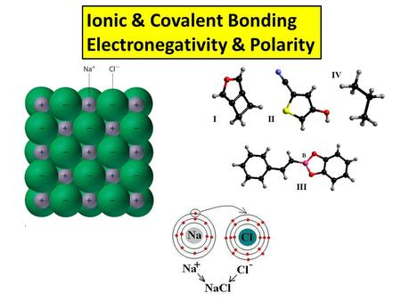 Ionic & Covalent Bonding Electronegativity & Polarity.