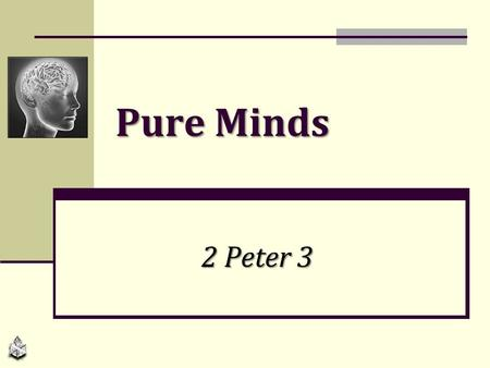 Pure Minds 2 Peter 3. Purpose: Stir up minds with a reminder, 3:1 (awake, arouse completely, 1:13-15) Two minds discussed in this chapter Pure minds (remember.