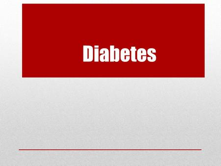 Diabetes. The Food You Eat is Broken Down Into Glucose to Supply Energy to Your Cells.