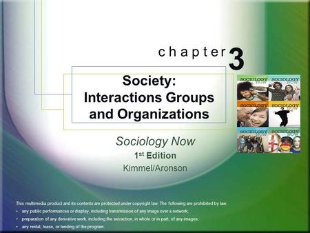 Sociology Now 1 st Edition Kimmel/Aronson Society: Interactions Groups and Organizations 3 c h a p t e r BOOK COVER ART This multimedia product and its.