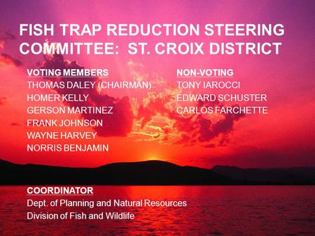 FISH TRAP REDUCTION STEERING COMMITTEE: ST. CROIX DISTRICT VOTING MEMBERS THOMAS DALEY (CHAIRMAN) HOMER KELLY GERSON MARTINEZ FRANK JOHNSON WAYNE HARVEY.