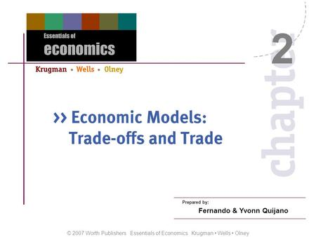 © 2007 Worth Publishers Essentials of Economics Krugman Wells Olney Prepared by: Fernando & Yvonn Quijano 2.