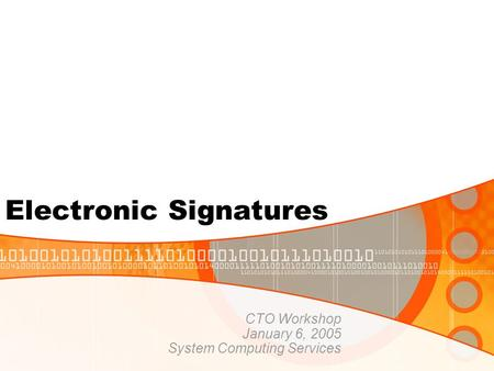 Electronic Signatures CTO Workshop January 6, 2005 System Computing Services.