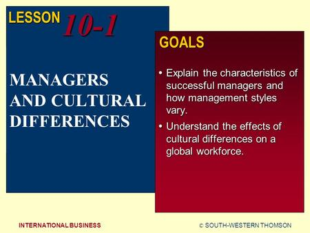 © SOUTH-WESTERN THOMSONINTERNATIONAL BUSINESS LESSON10-1 GOALS  Explain the characteristics of successful managers and how management styles vary.  Understand.