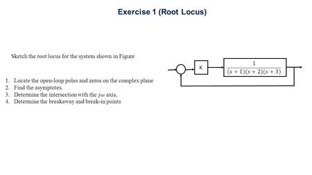 Sketch the root locus for the system shown in Figure K Exercise 1 (Root Locus)