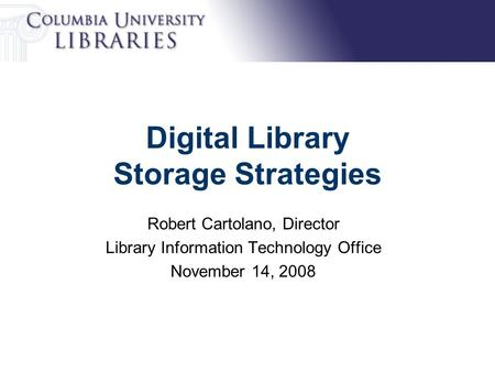 Digital Library Storage Strategies Robert Cartolano, Director Library Information Technology Office November 14, 2008.