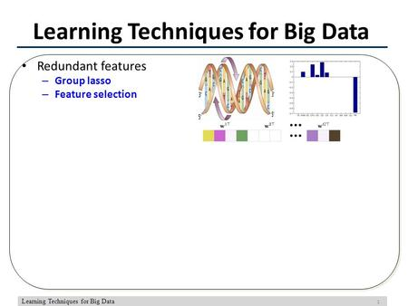 1 Learning Techniques for Big Data Redundant features – Group lasso – Feature selection.