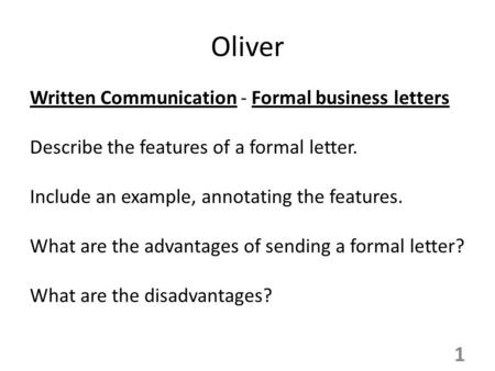 Oliver Written Communication - Formal business letters
