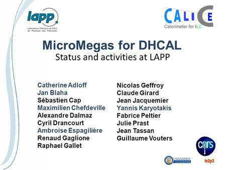 MicroMegas for DHCAL Status and activities at LAPP Catherine Adloff Jan Blaha Sébastien Cap Maximilien Chefdeville Alexandre Dalmaz Cyril Drancourt Ambroise.