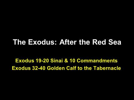 The Exodus: After the Red Sea Exodus 19-20 Sinai & 10 Commandments Exodus 32-40 Golden Calf to the Tabernacle.