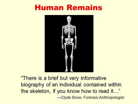 "Human Remains ""There is a brief but very informative biography of an individual contained within the skeleton, if you know how to read it…"" —Clyde Snow,"