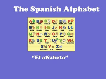 "The Spanish Alphabet ""El alfabeto"". Pregunta: How many letters are in the Spanish alphabet? There are 27 letters in the Spanish alphabet 2."
