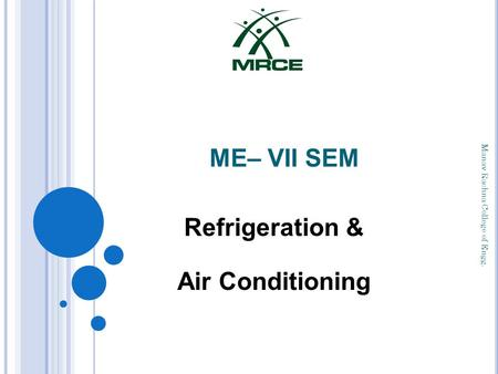 ME– VII SEM Refrigeration & Air Conditioning Manav Rachna College of Engg.