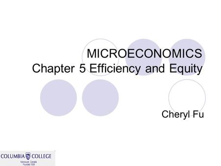 MICROECONOMICS Chapter 5 Efficiency and Equity Cheryl Fu.