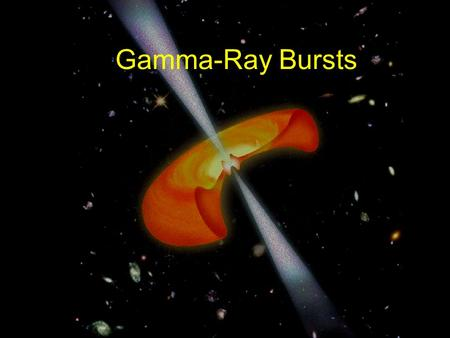 Gamma-Ray Bursts. Short (sub-second to minutes) flashes of gamma- rays, for ~ 30 years not associated with any counterparts in other wavelength bands.