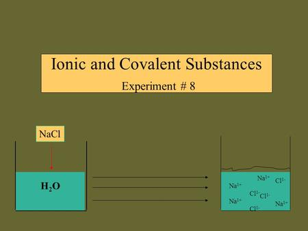 Ionic and Covalent Substances Experiment # 8 H2OH2O NaCl Na 1+ Cl 1- Na 1+